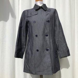 Banana Republic Double Breasted Gray Coat Blue M